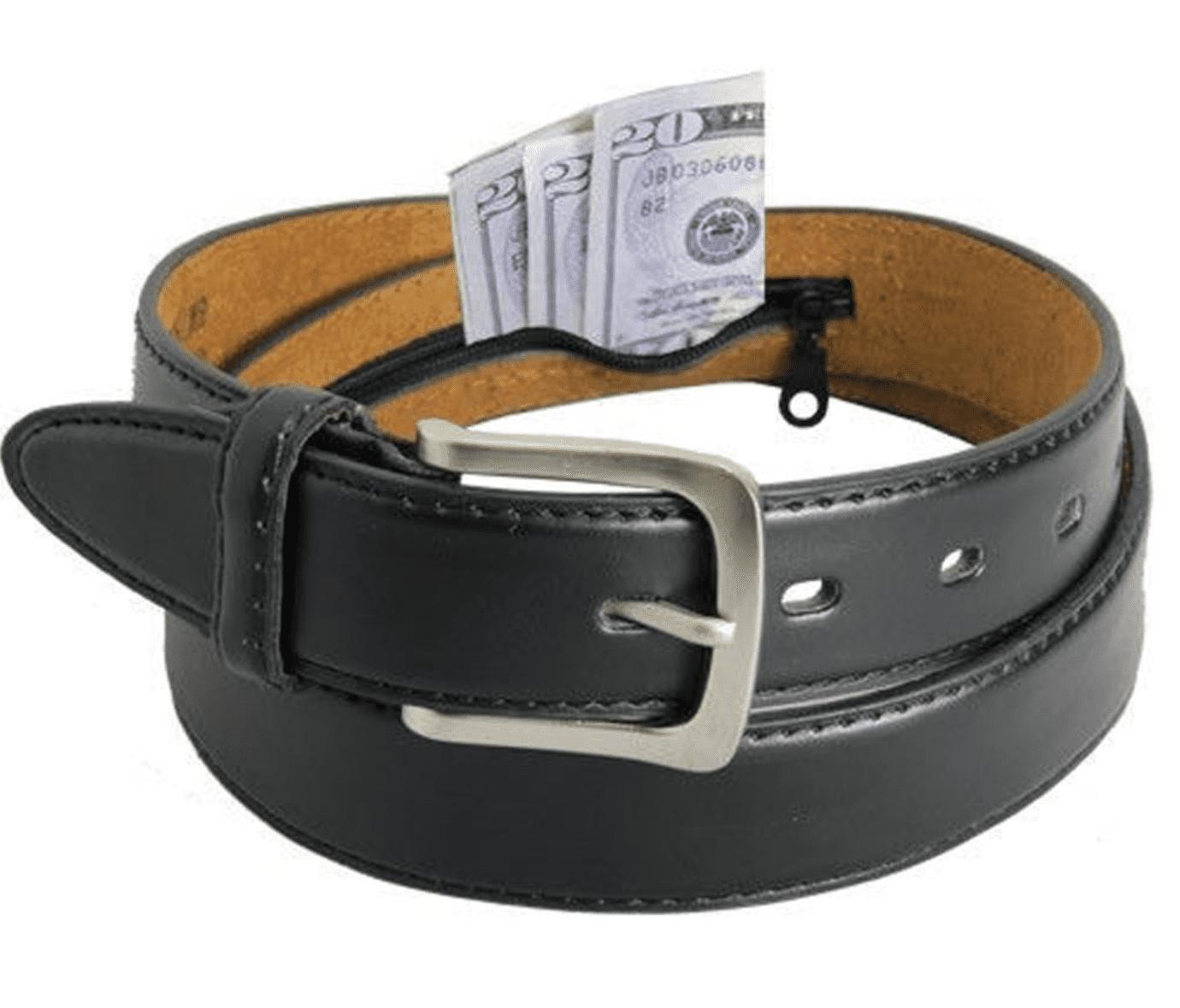 LeatherBoss Men's Black Leather Money Belt