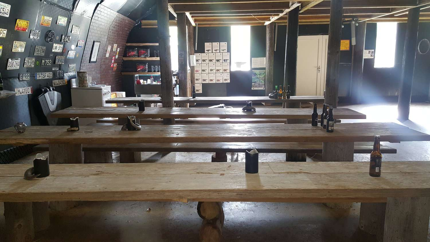 Wooden tables at Steðji in Iceland