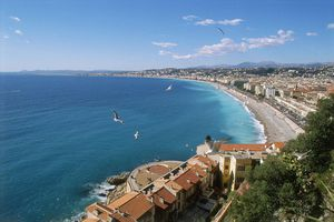 View of the Mediterranean sea and the rooftops of Nice, France.