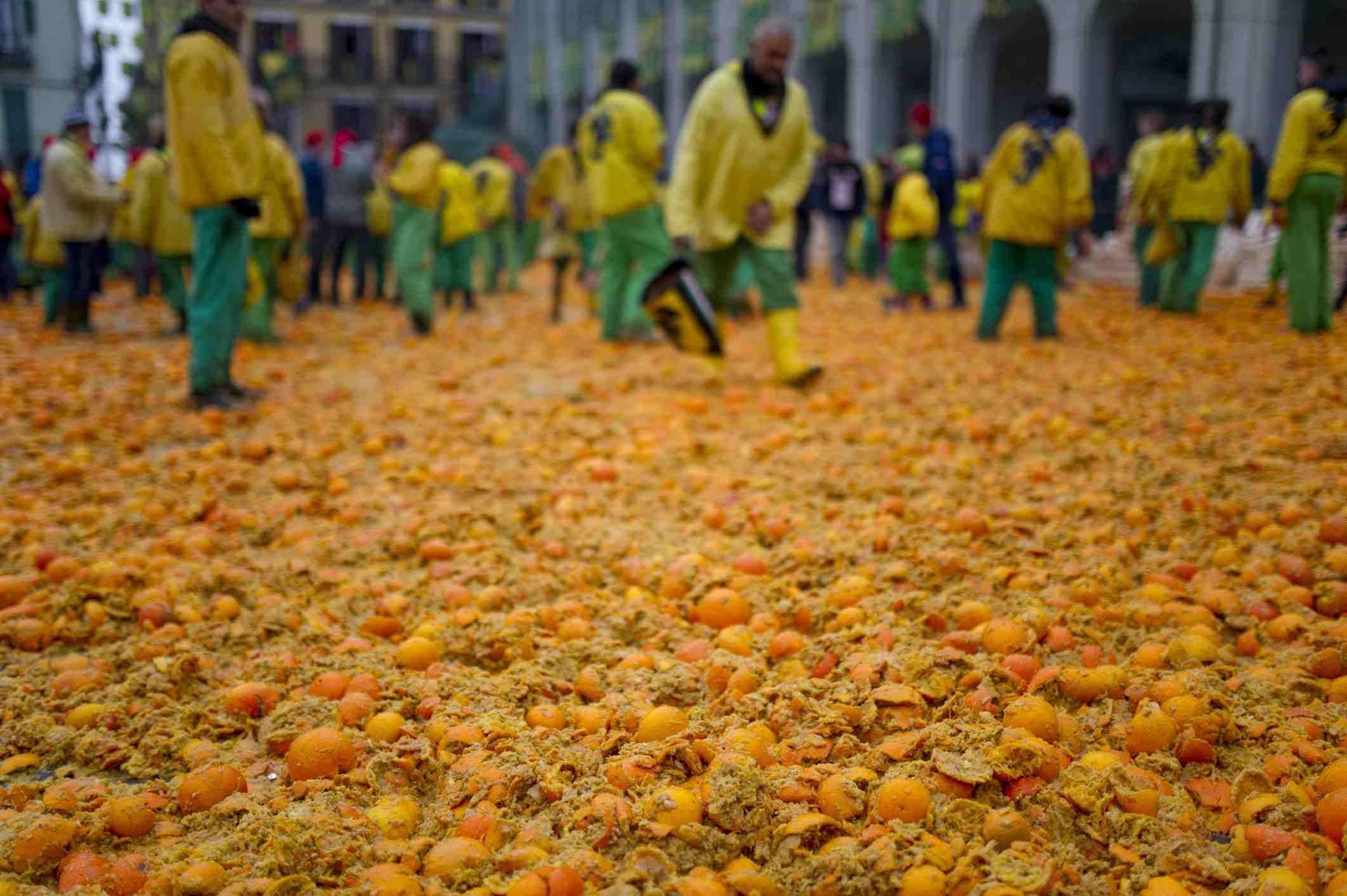Aftermath of the Carnevale orange battle, Ivrea, Torino province, Piedmont, Italy
