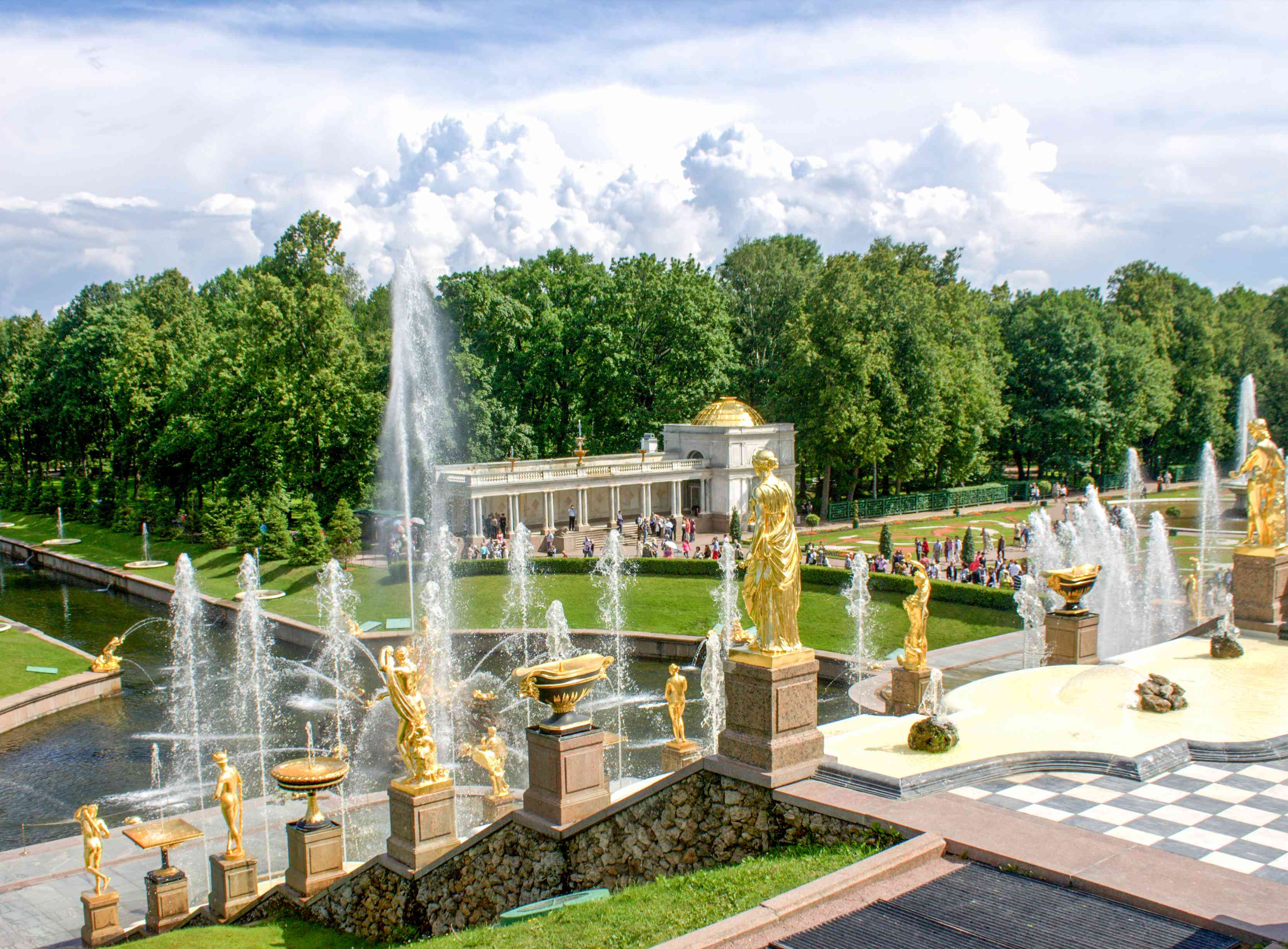 View of the fountains and golden statues at Peterhof