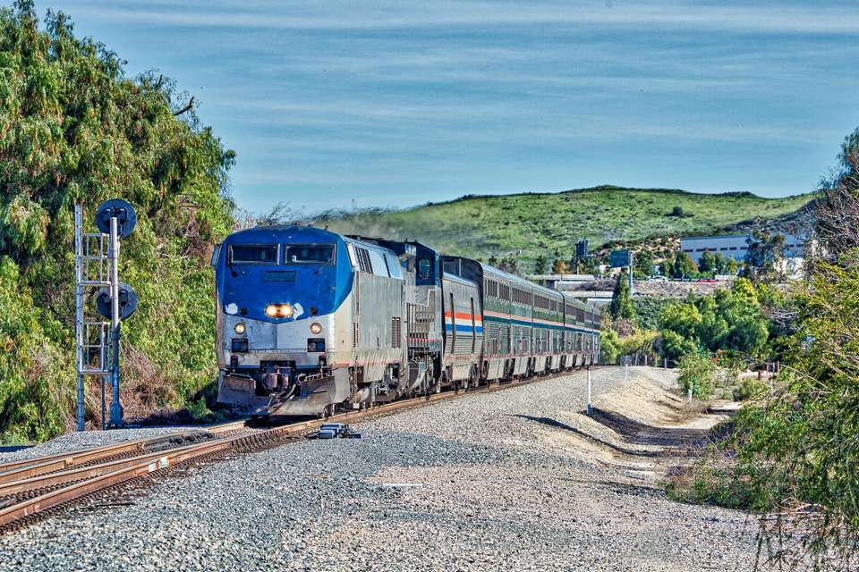 Amtrak Coast Starlight (Los Angeles - Seattle) powered by P42DC locomotives at Moorpark, California