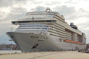 MSC Splendida at harbor of Messina, Italy