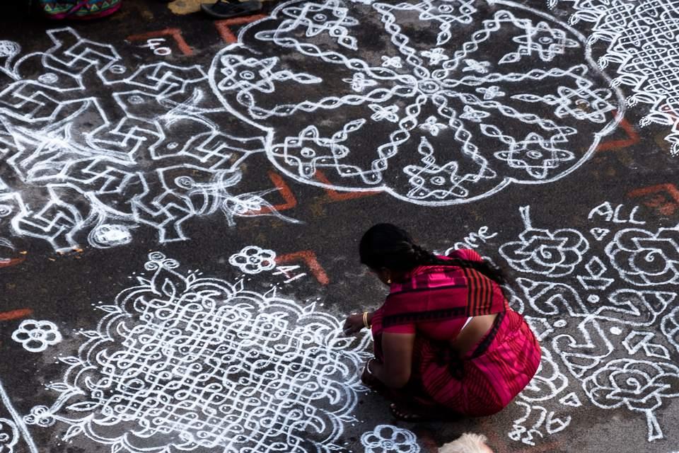mylapore festival kolam drawing