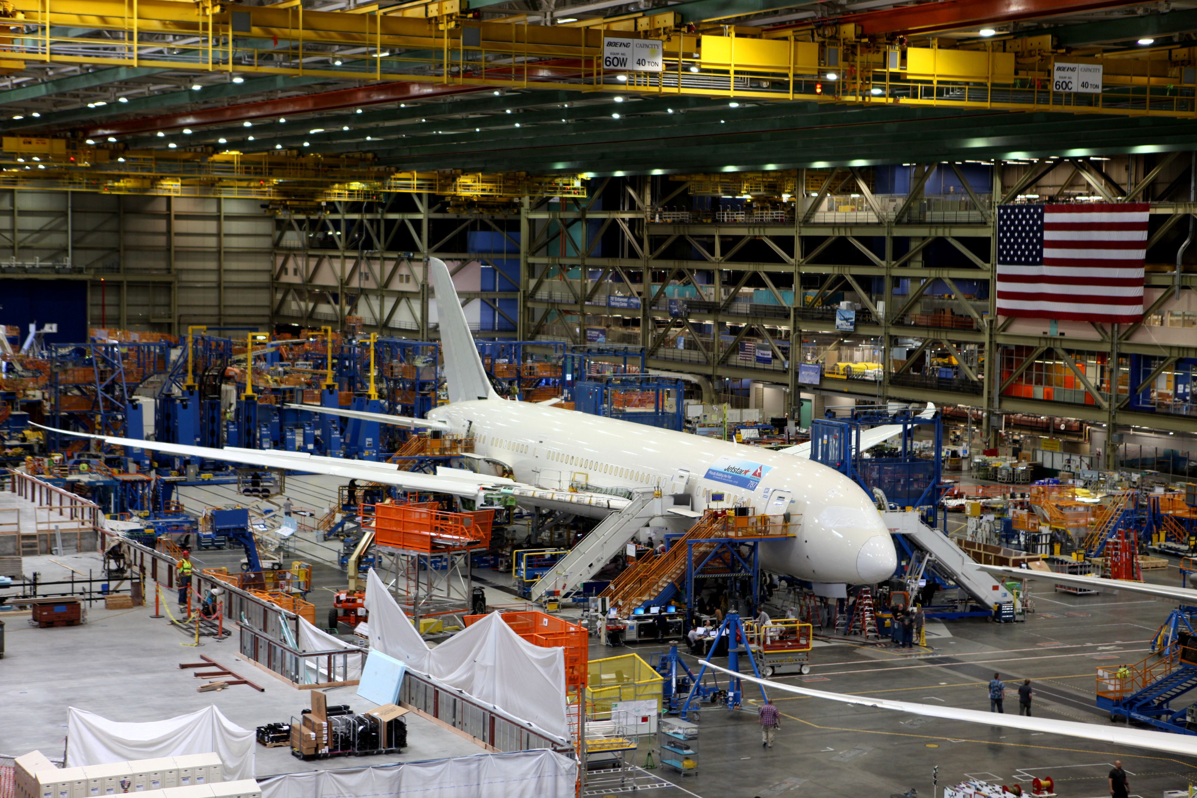A view of the interior of the Boeing facility.