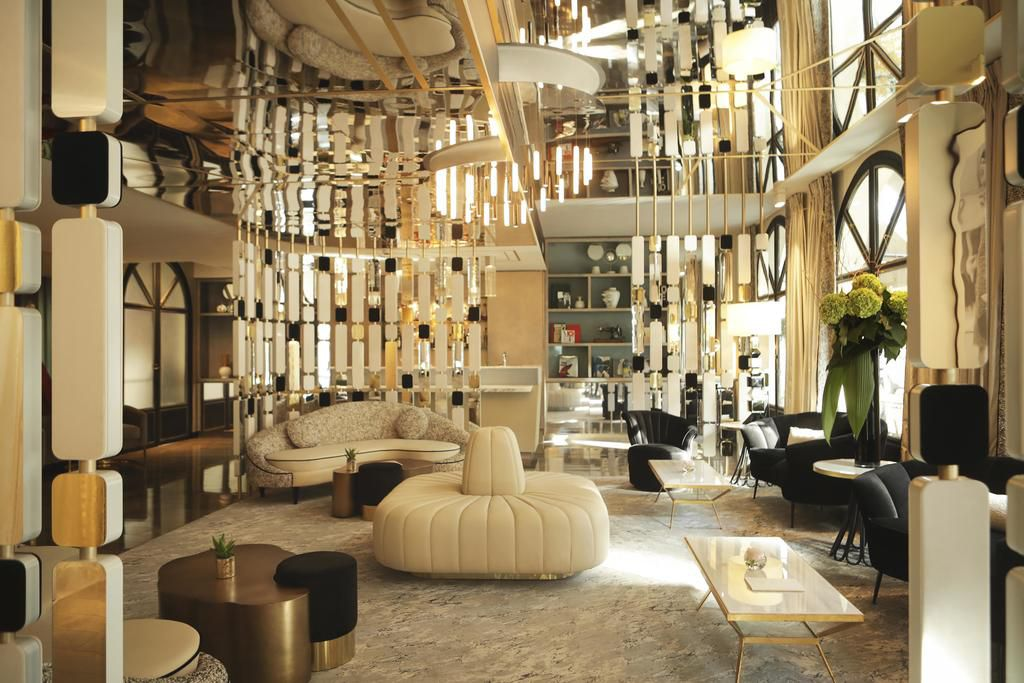 The lounge area at the Derby Alma Hotel , Paris