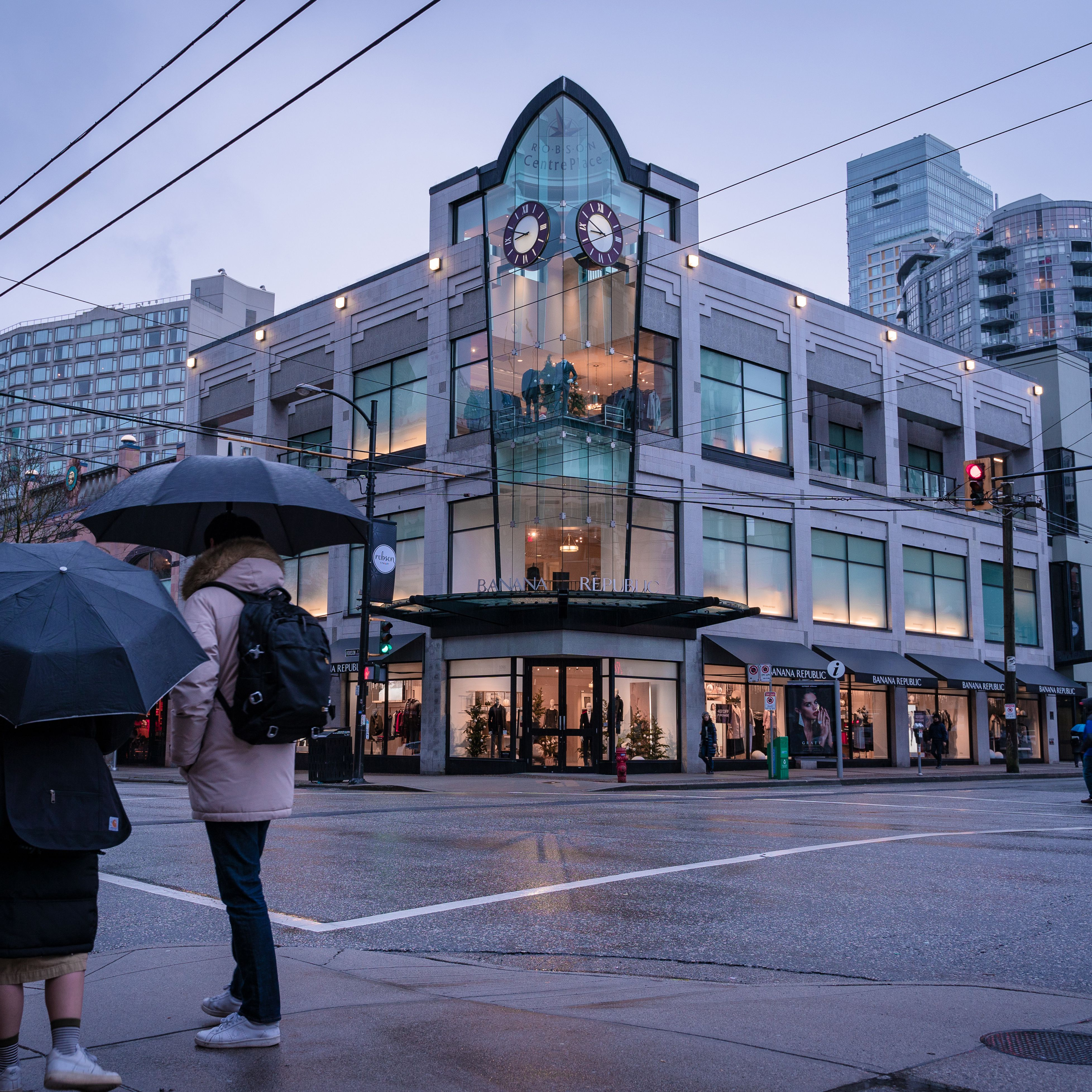 Robson Street Shopping in Downtown Vancouver, BC