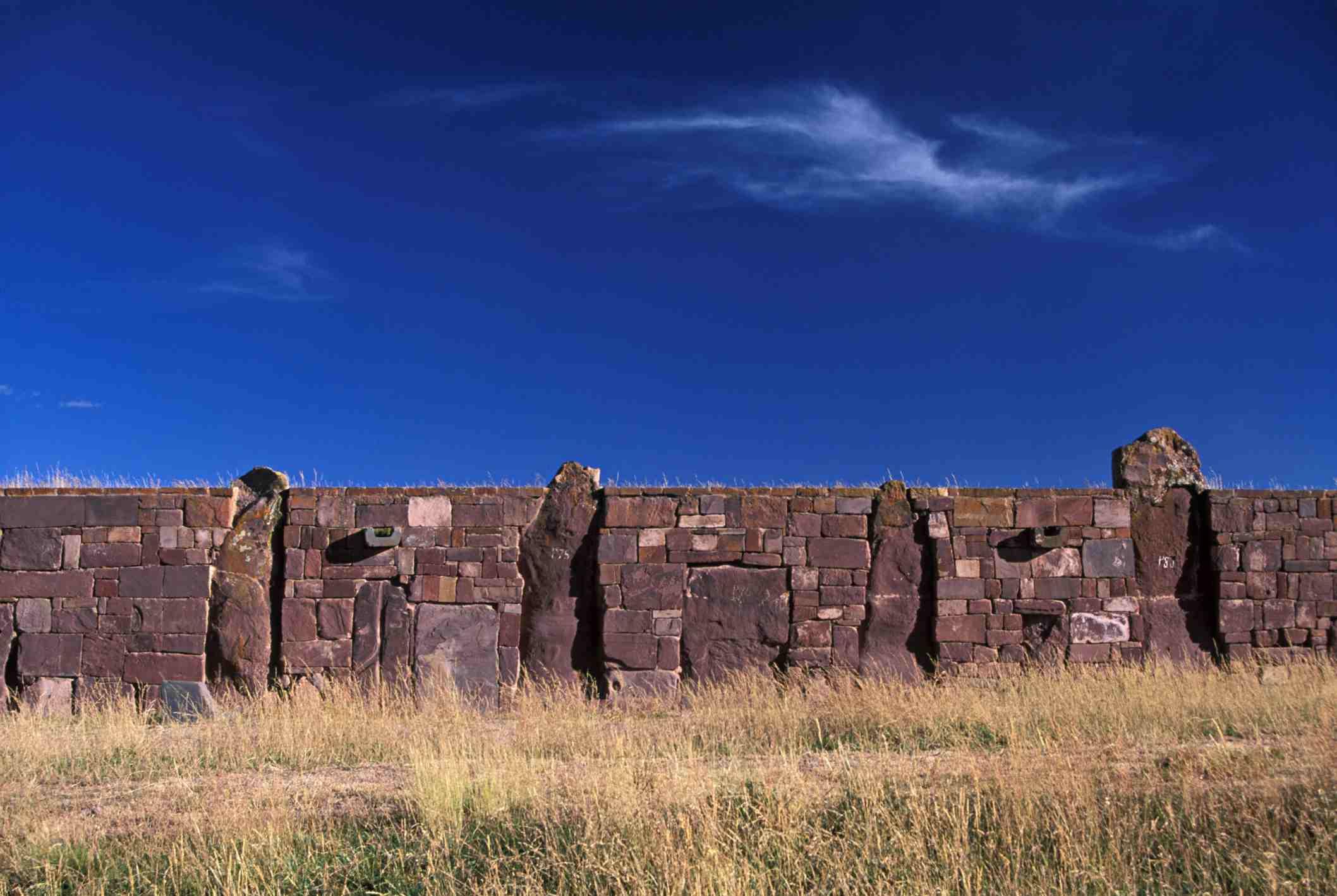Outer Wall at Tiwanaku Civilization Site of Kalasasaya Temple, Bolivia