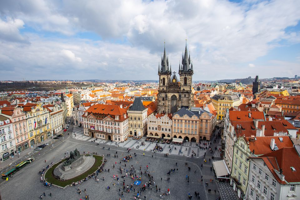 Aeiral view of a square in Prague