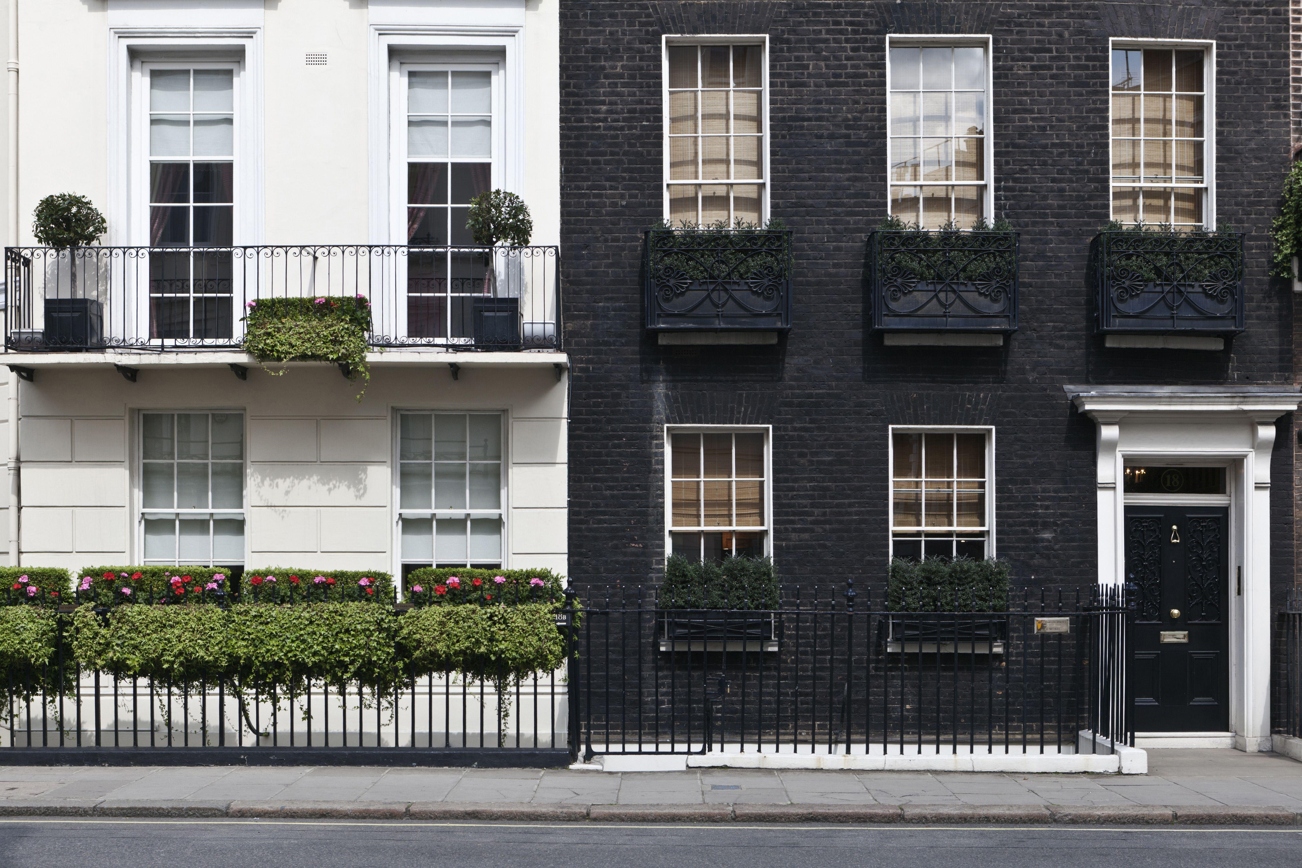 Elegant Georgian townhouse terraces in Mayfair London W1 England