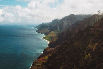 Napali Coastline from a helicopter tour with Blue Hawaiian Helicopters