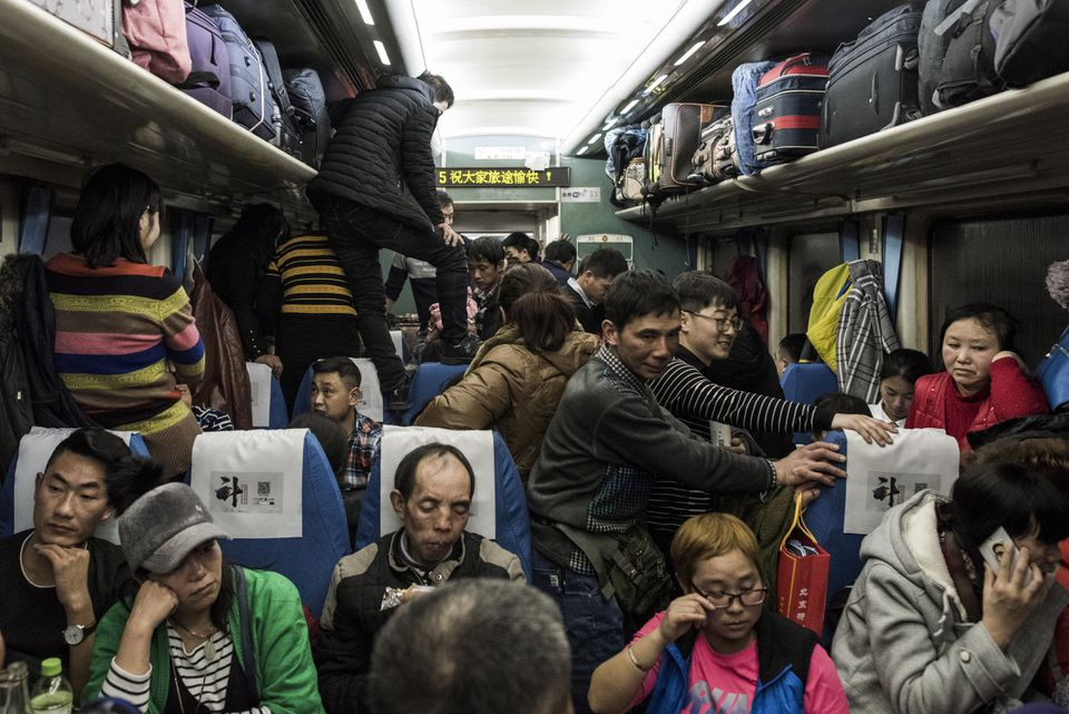 Crowded train travel during Chinese New Year