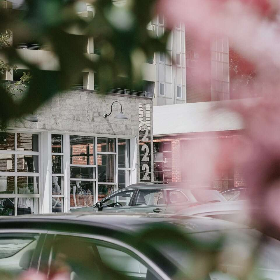 vista de un edificio gris y de cristal con follaje borroso en primer plano