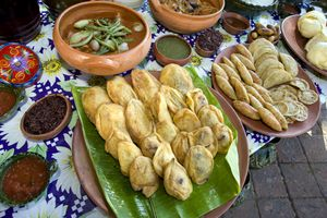 Chile rellenos and other Oaxacan foods on display
