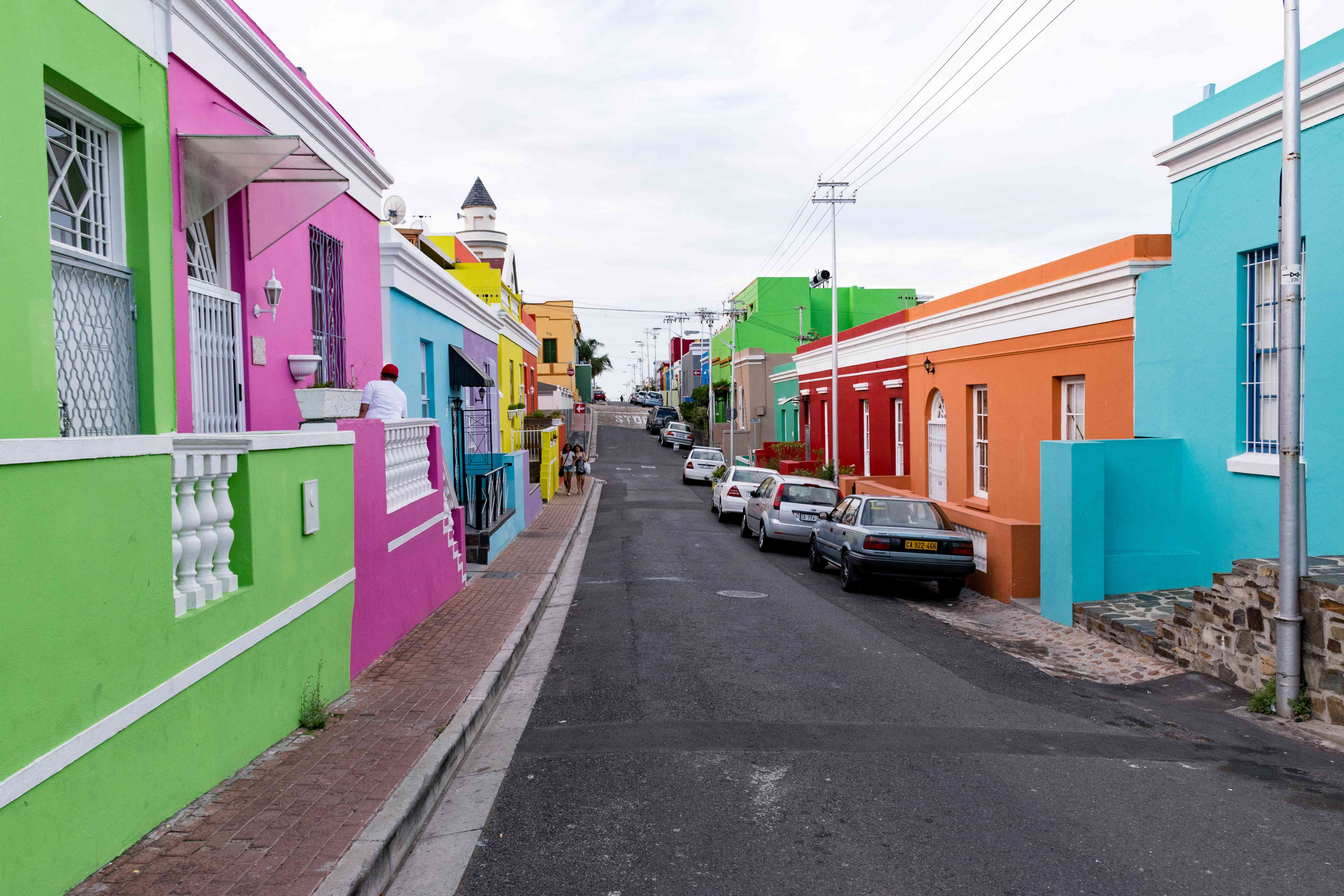 A long row of colorful houses