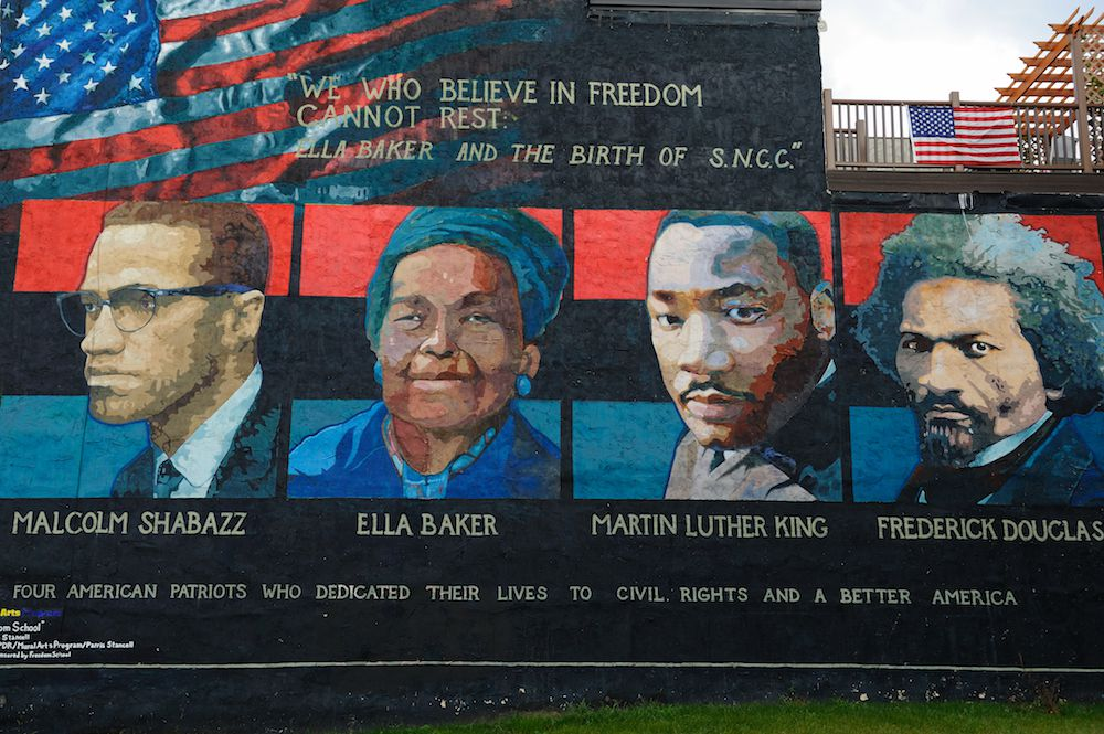 This mural in Philadelphia celebrates Martin Luther King Jr and other civil rights leaders.