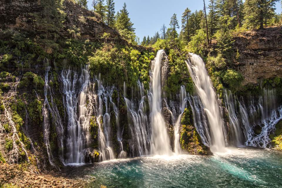 Burney Falls is a waterfall on Burney Creek, in McArthur-Burney Falls Memorial State Park, Shasta County, California.