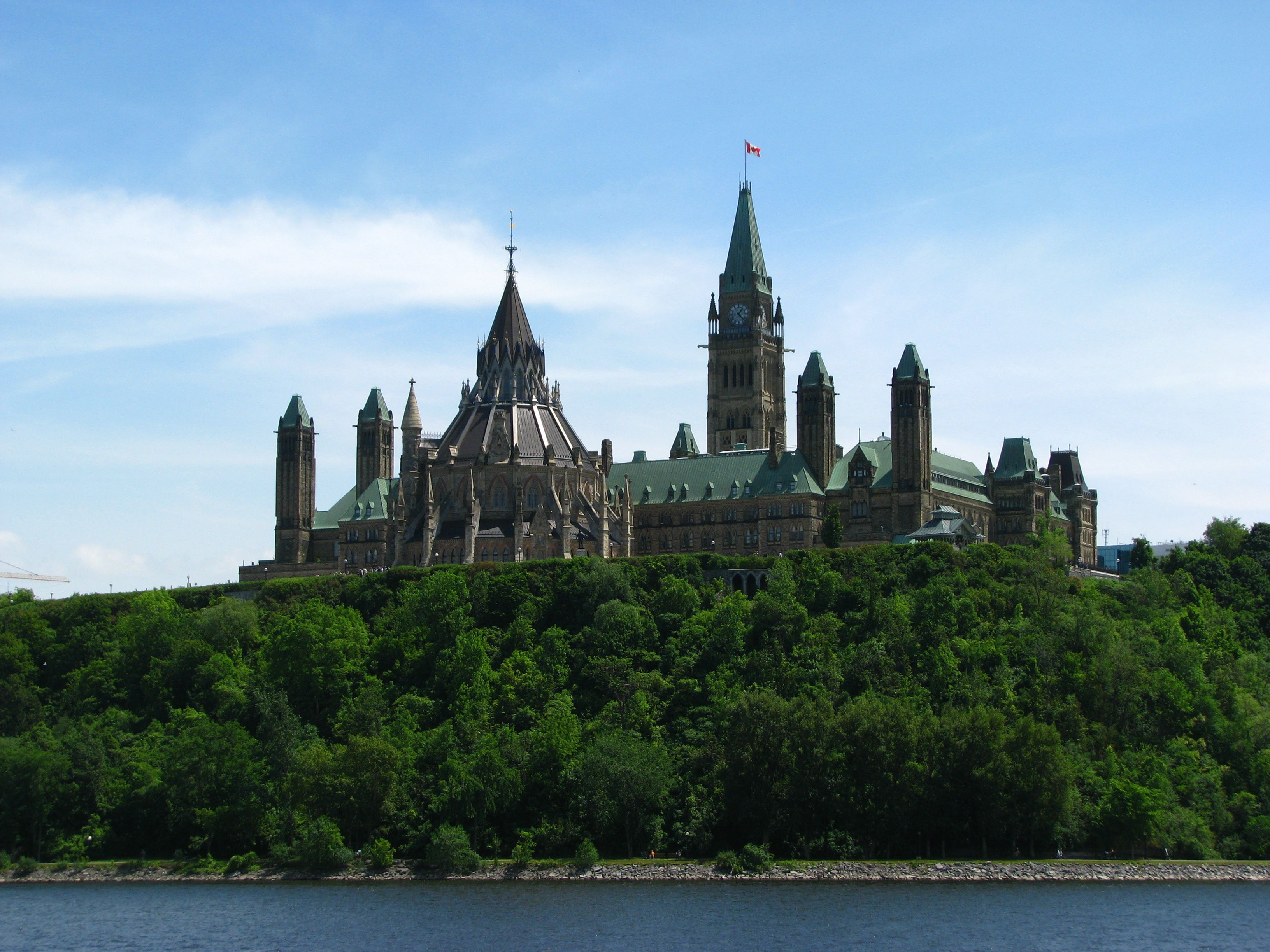 Parliament Hill, the seat of Canadian government, on the banks of the Ottawa River