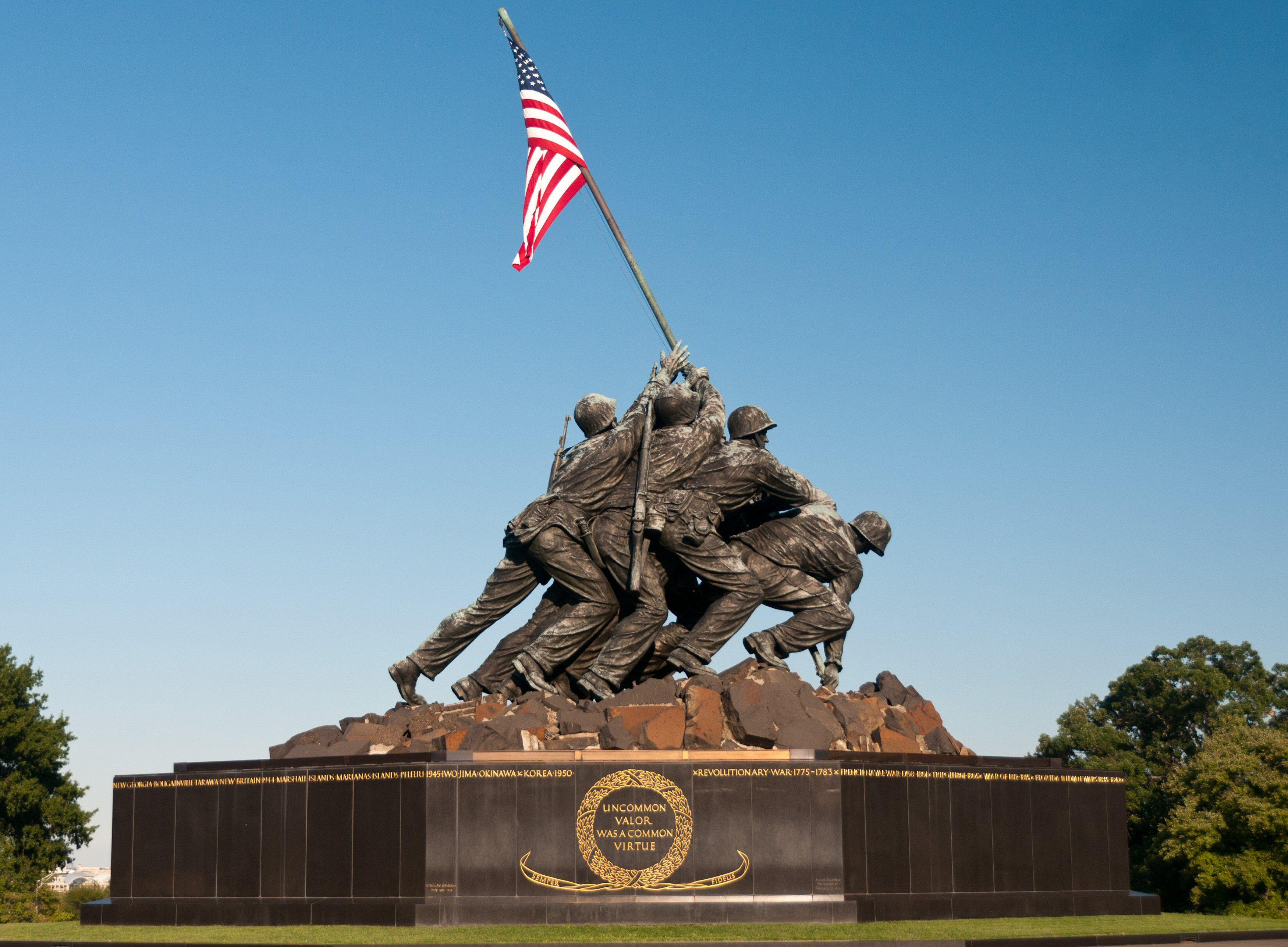 Marine Corps War Memorial, also called the Iwo Jima Memorial, Arlington, Virginia
