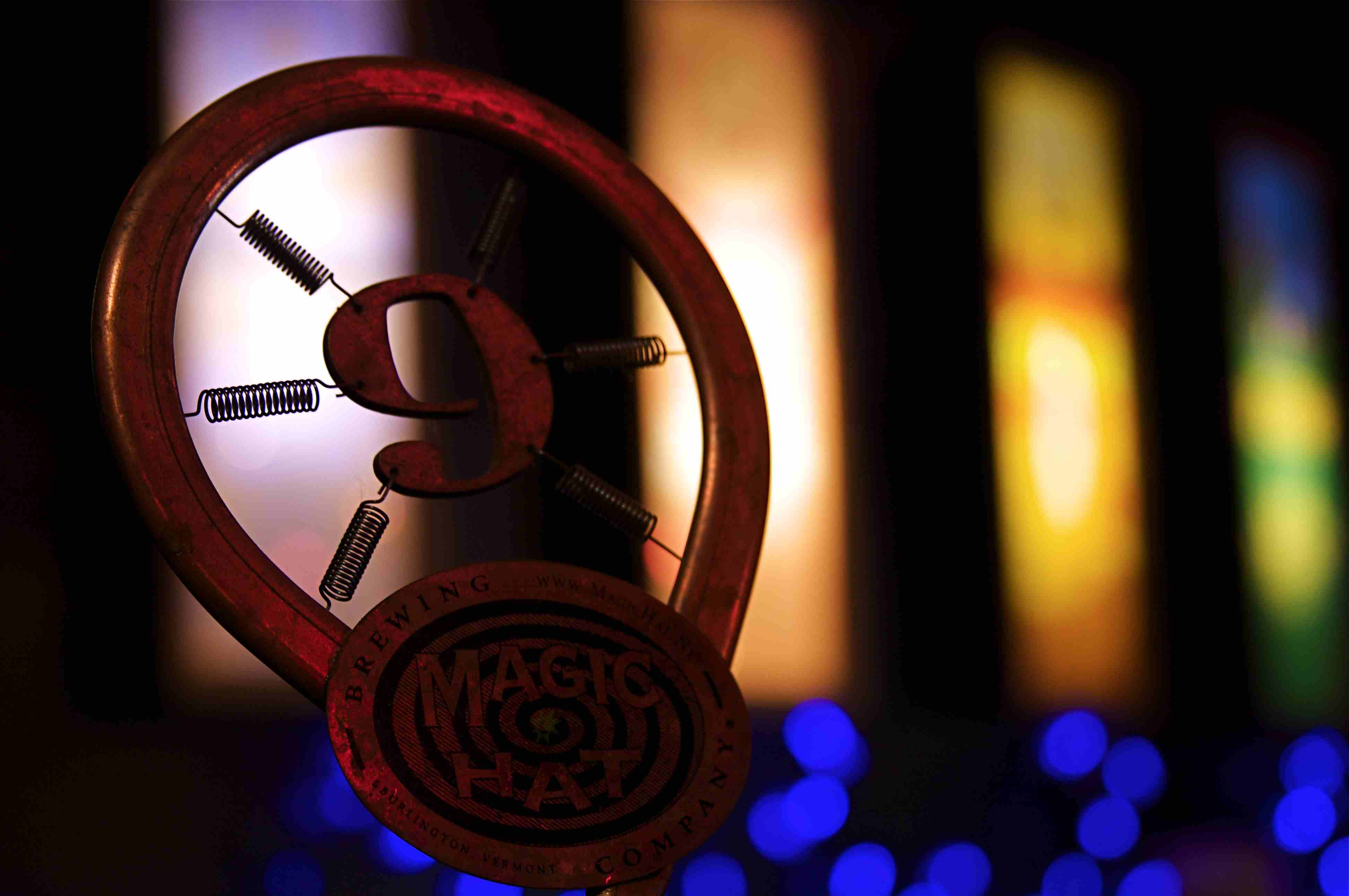 Close of a Magic Hat Brewing Company beer tap with the number 9 on it