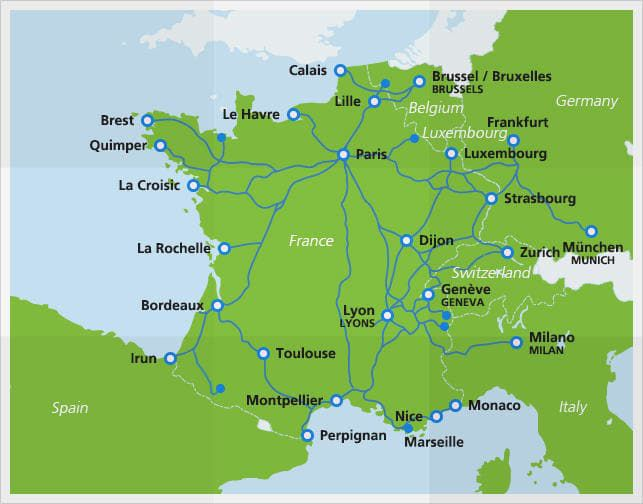 Map Of Trains In France.Map Of Tgv Train Routes And Destinations In France