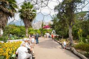 Eden Project visitors inside one of gaint domes