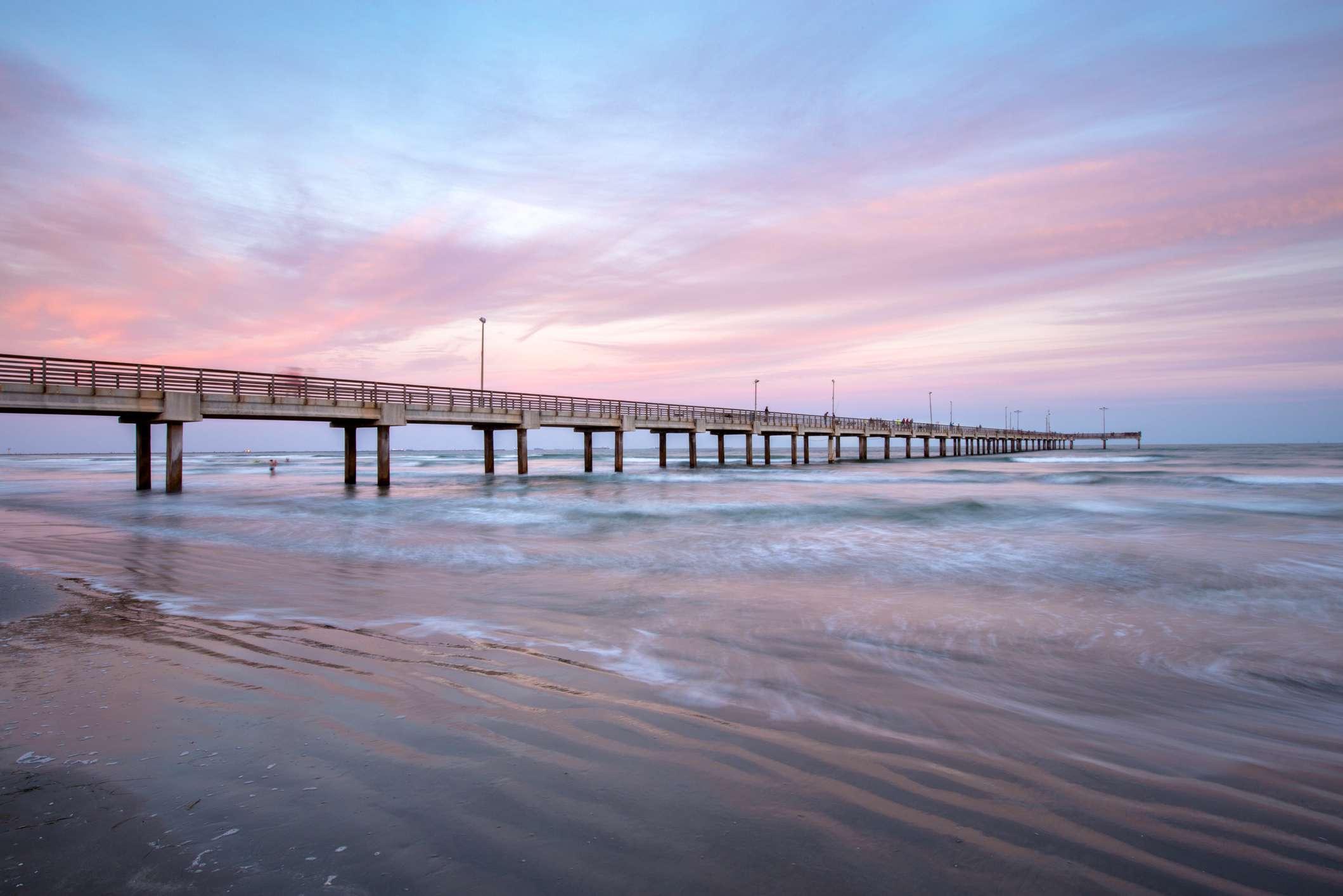 Horace Caldwell Pier at Sunset in Port Aransas, Texas, USA