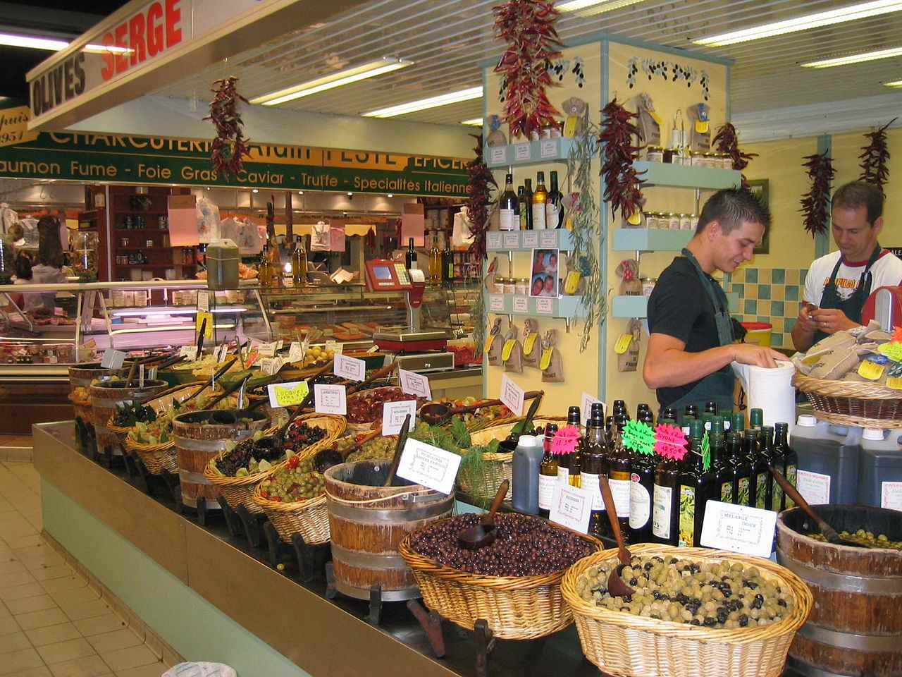 Olive Stall in market hall, Avignon
