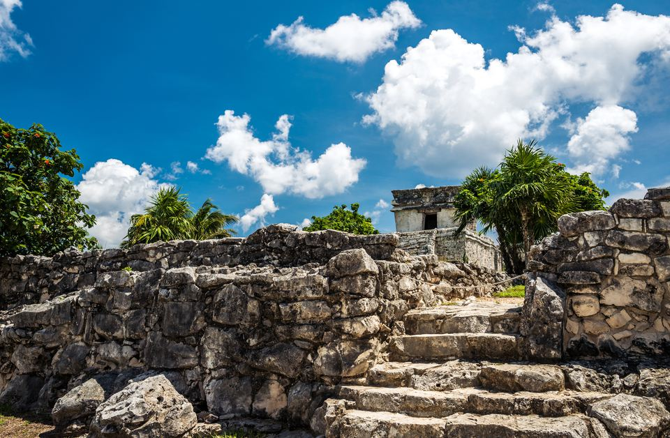 Low Angle View Tulum archaeological site