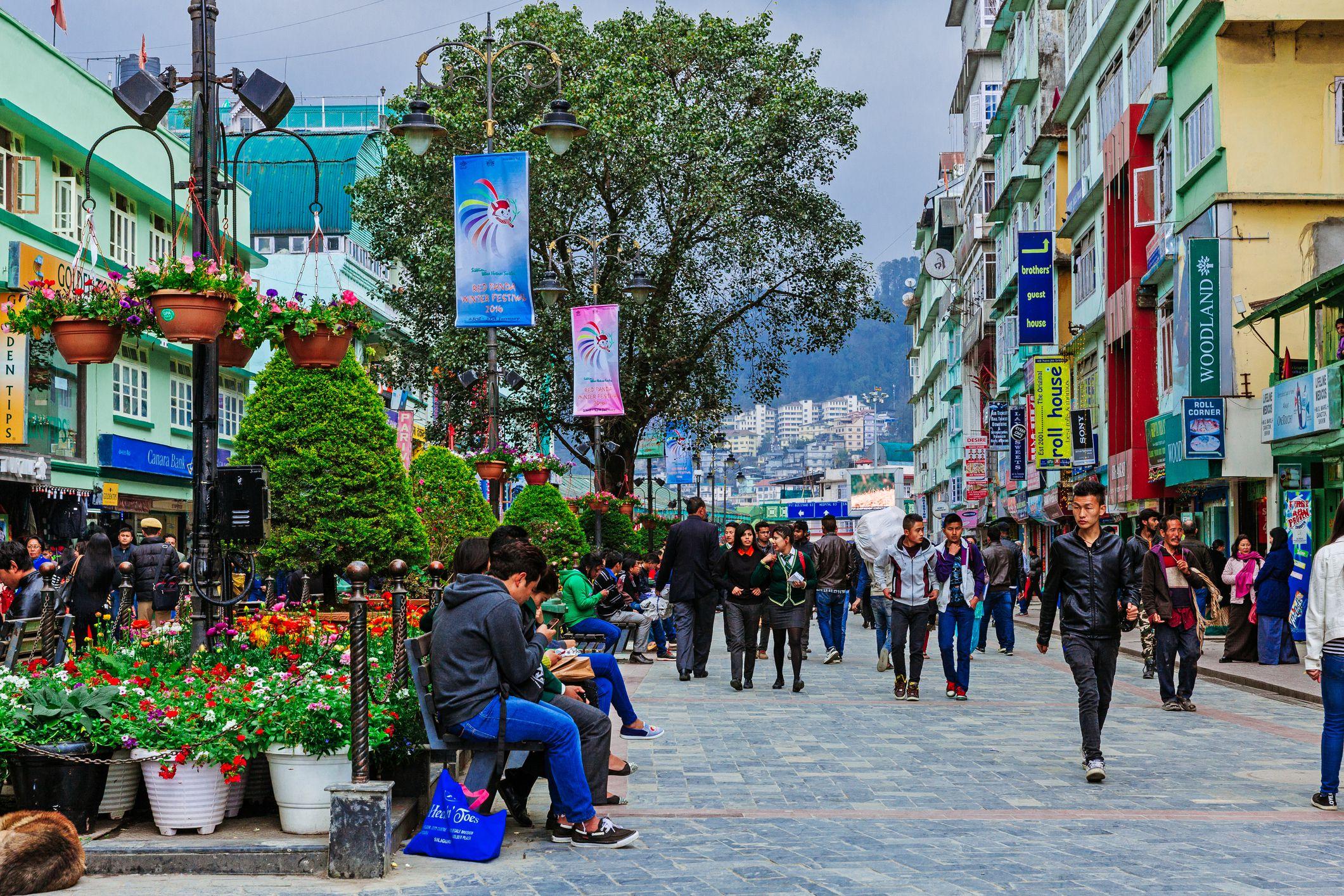 People walkling on MG Road of Gangtok, Sikkim, India