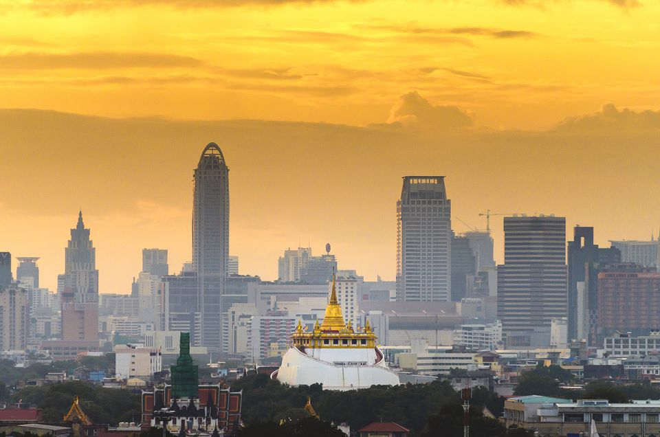 Wat Saket, a popular temple in Bangkok, at dawn