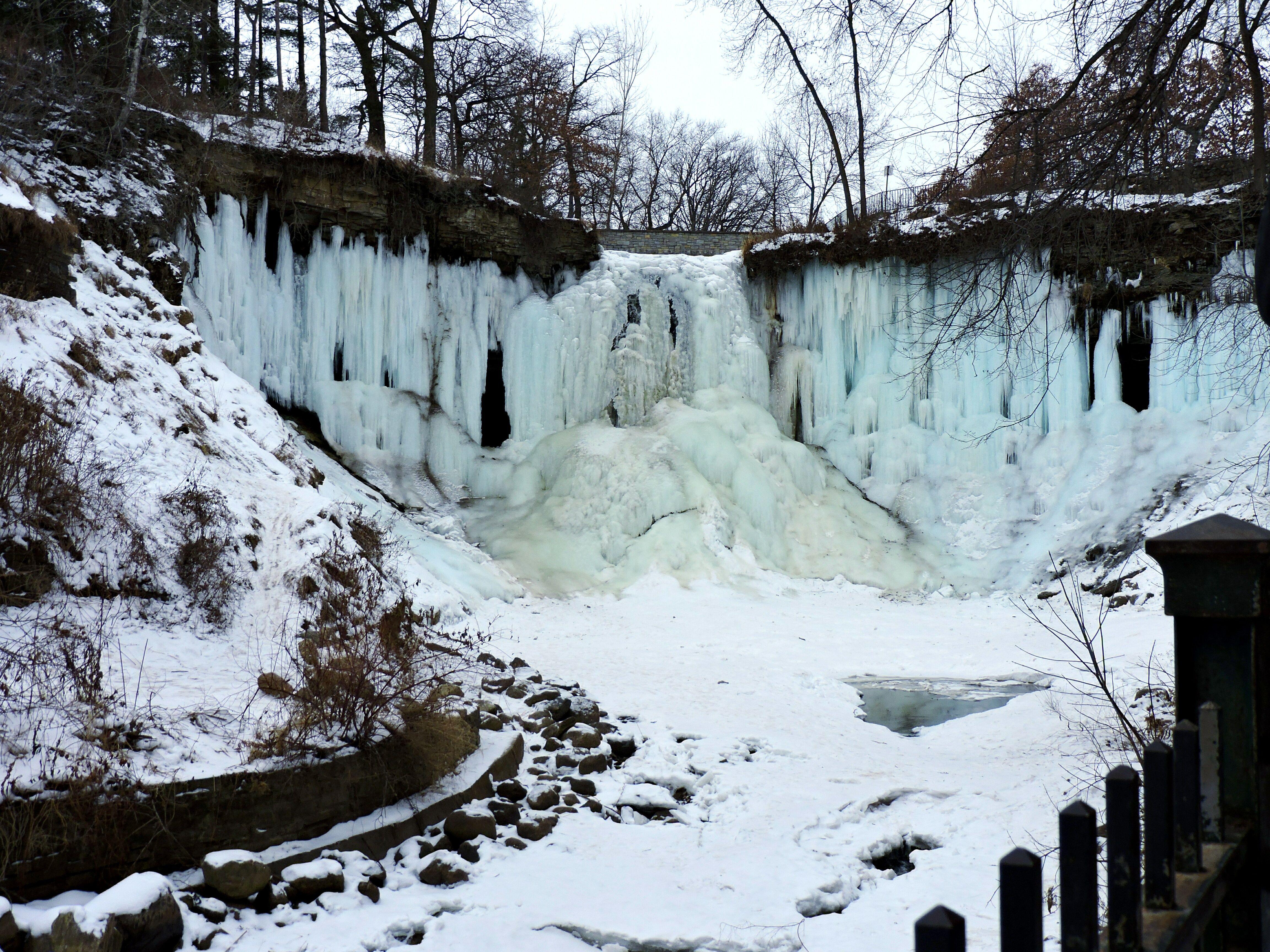 Minnehaha Falls frozen in winter