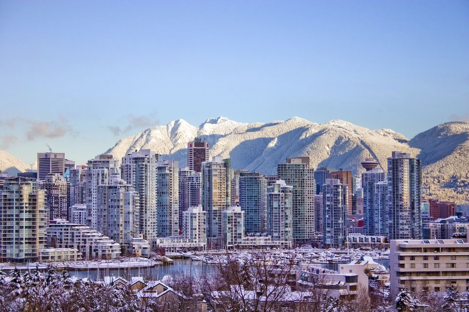 Snowy Vancouver, BC skyline