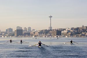 Rowers working out on Lake Union