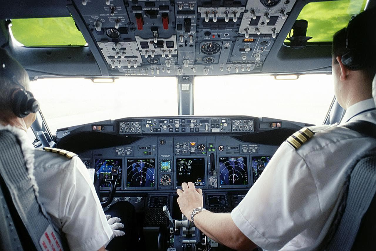 Pilot and Co-pilot in Cockpit