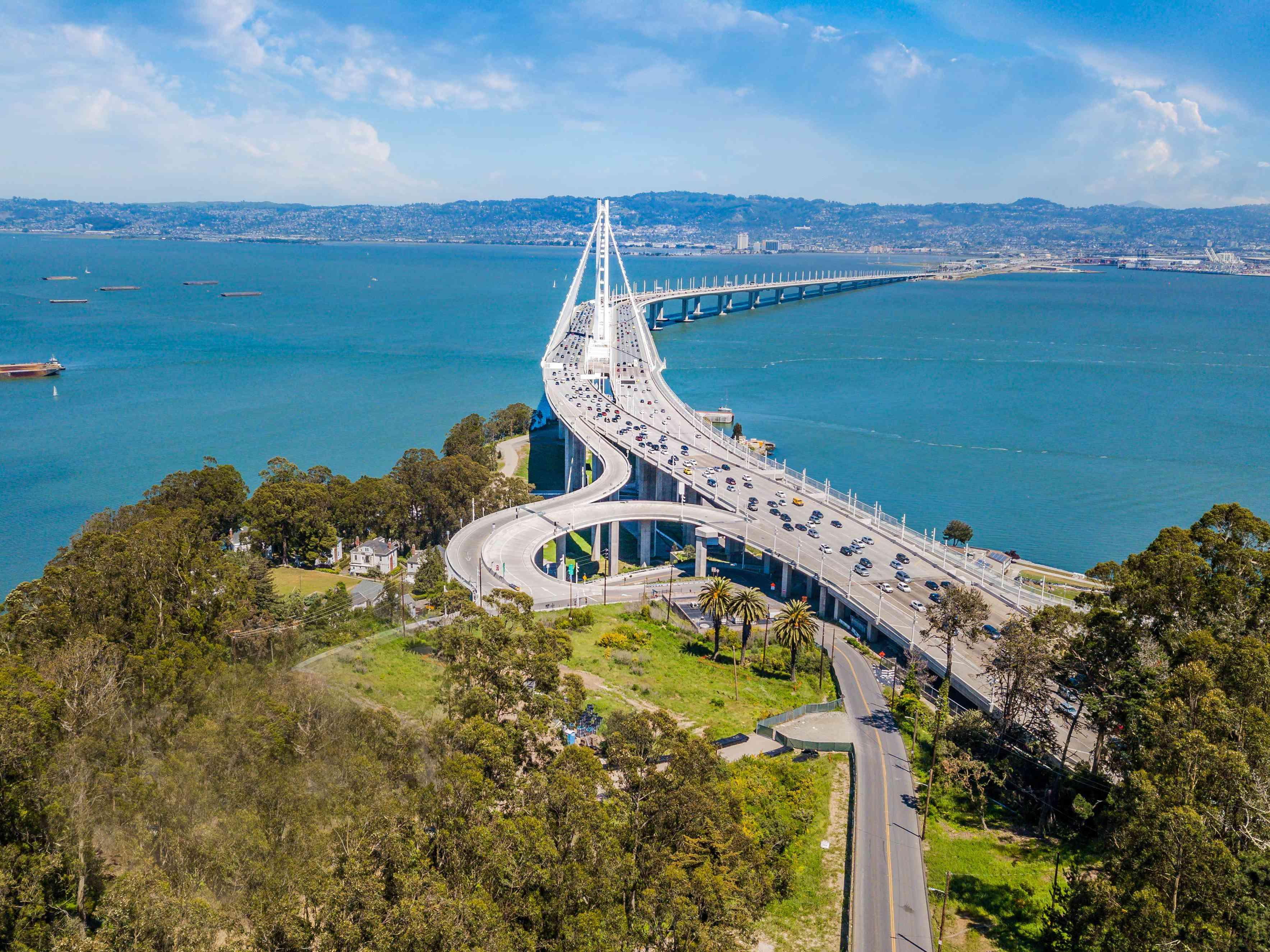 Aerial View of Bay Bridge - stock photo