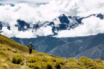 Solo Hiker Walks the Inca Trail Which Leads to Machu Picchu, Peru