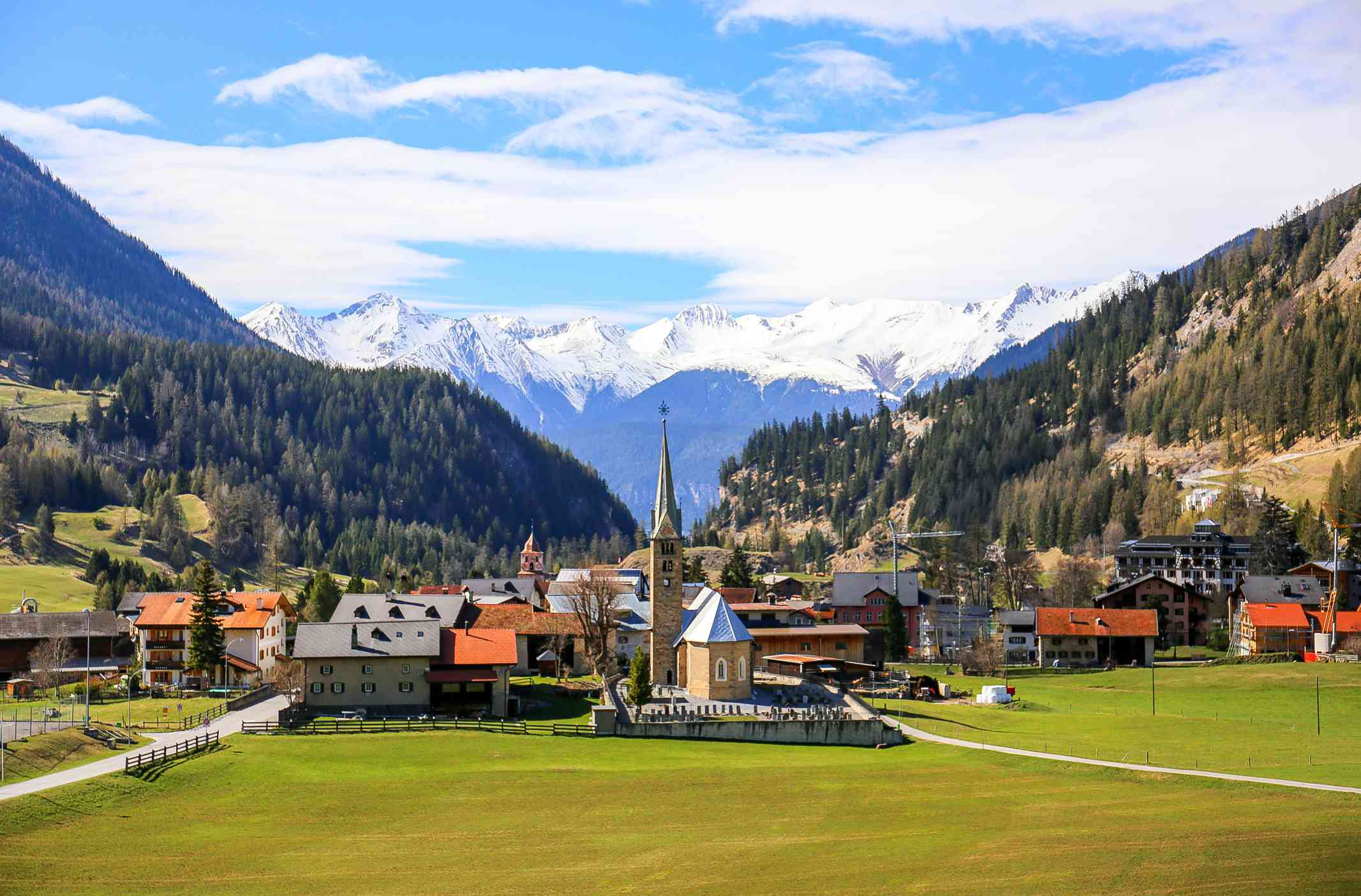 Famous Bergün/Bravuogn village along the panoramic golden pass line train in West of Switzerland