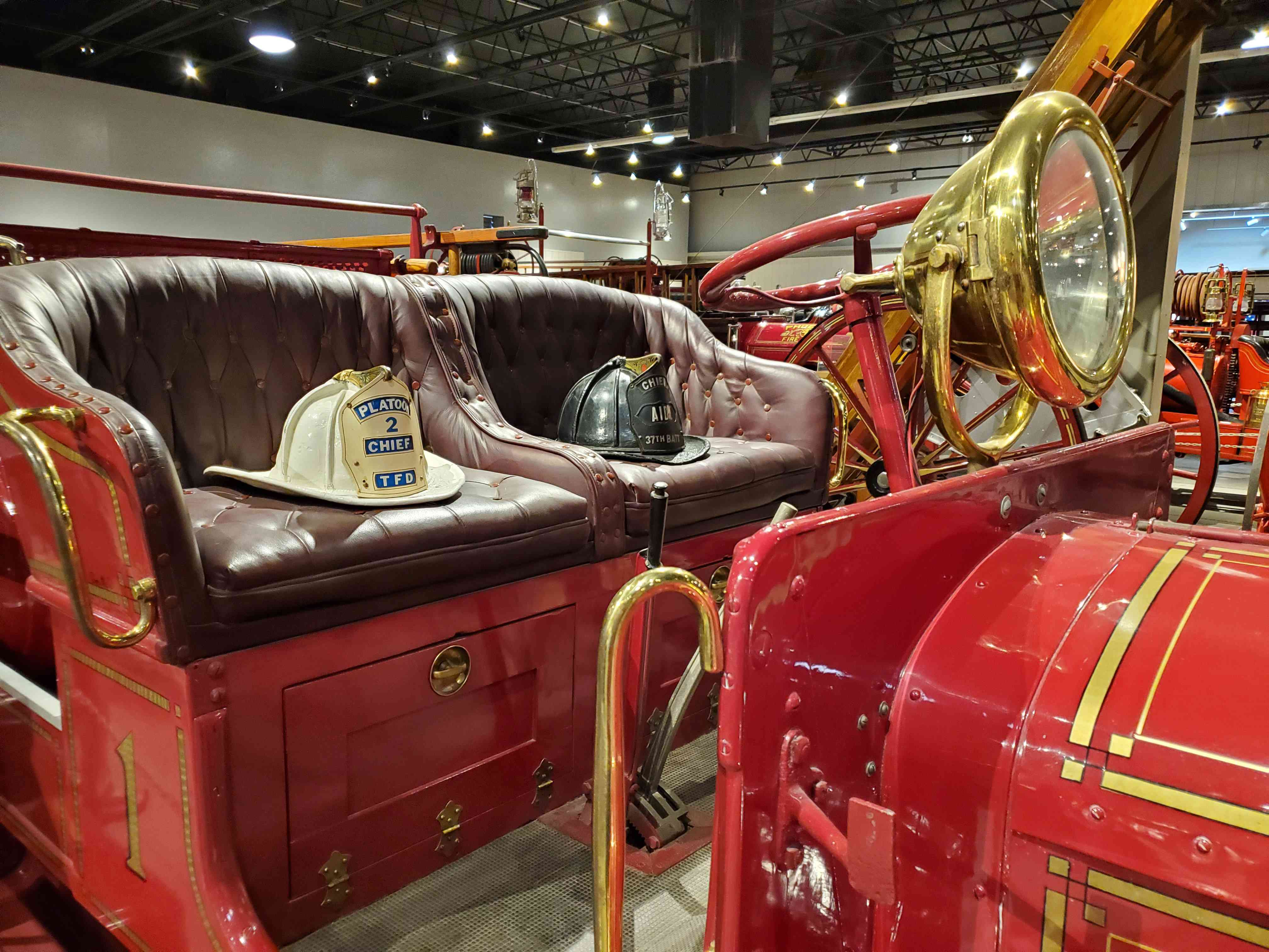 Vintage Fire truck and helmets