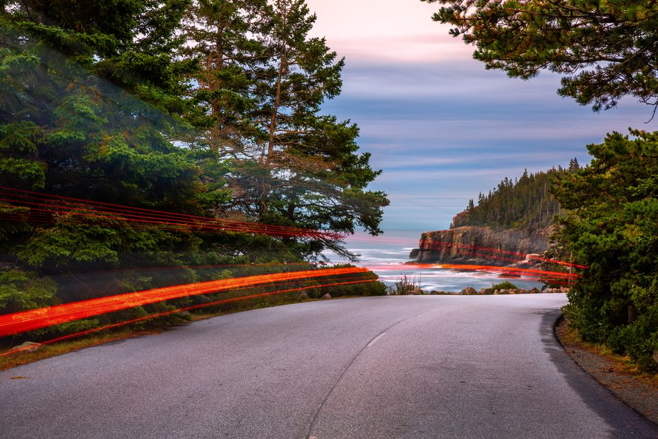 Park Loop Road in Acadia National Park at dusk, in Maine