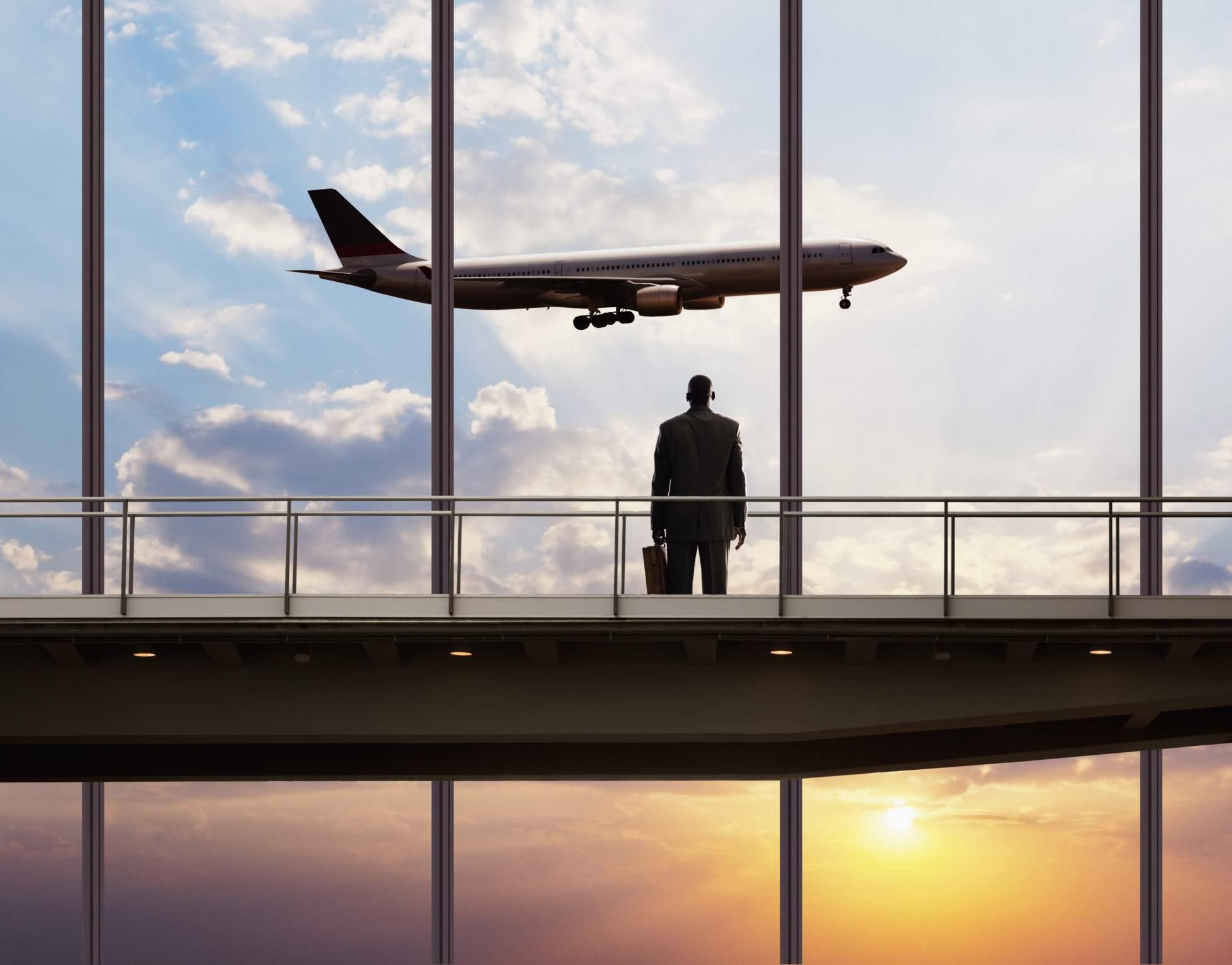 businessman watching a flight