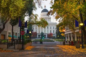 Autumn leaves line the streets of Sacramento around the Capital Building.