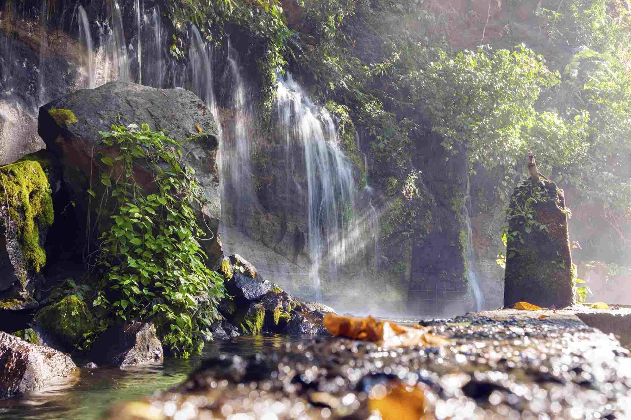 Small waterfalls and rocks at El Salvador's Seven Waterfalls in Juayua
