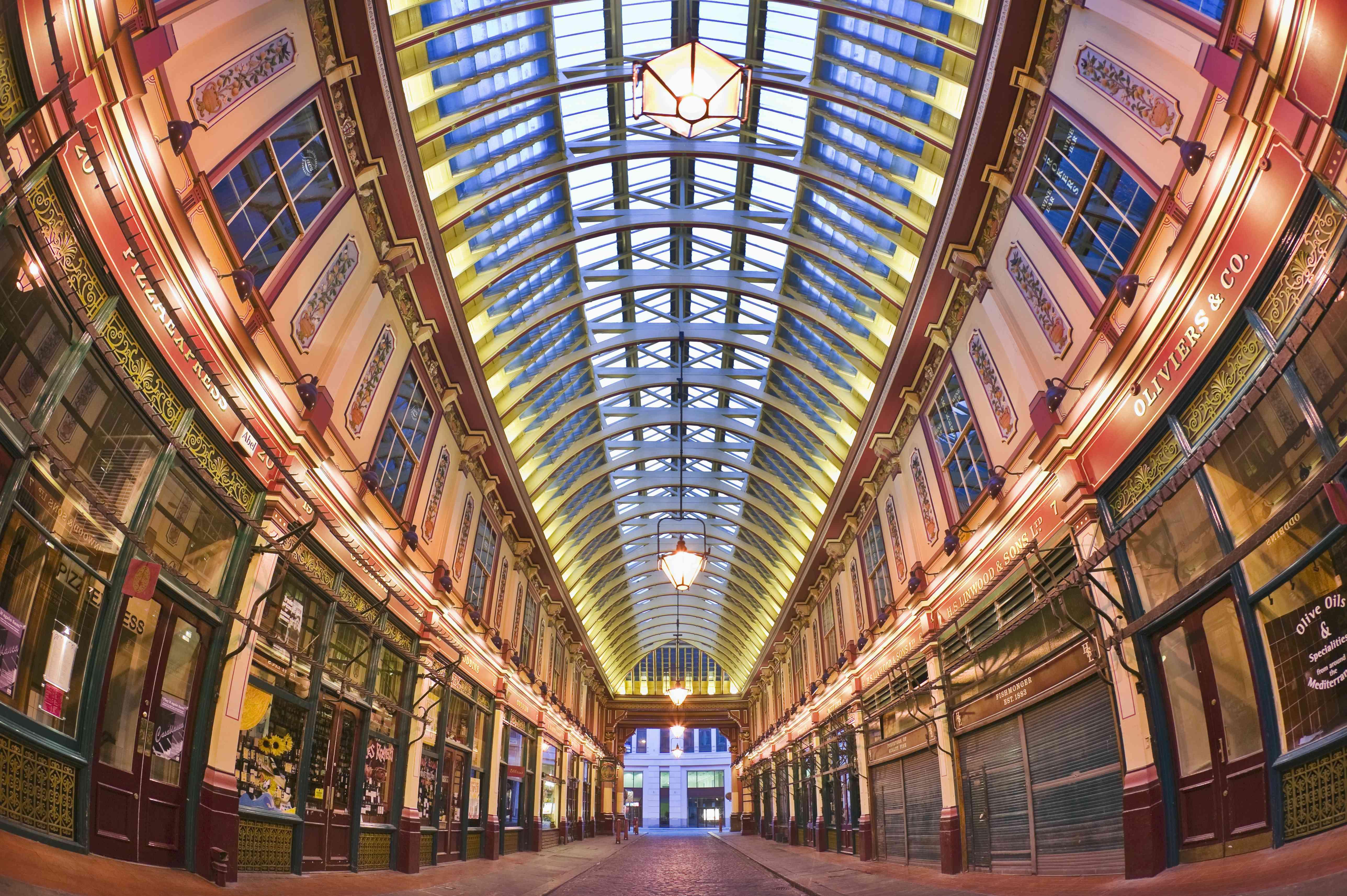 empty covered Leadenhall market at twilight