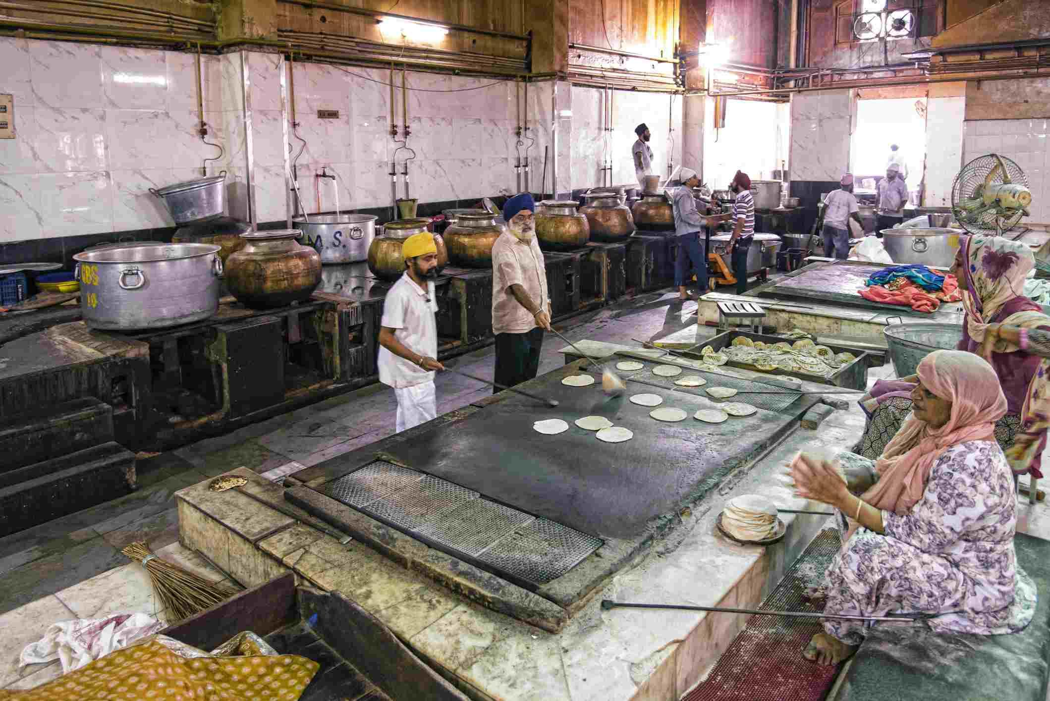 Gurudwara Bangla Sahib kitchen.