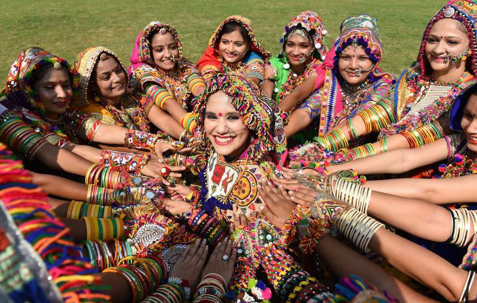 Garba performers in Gujarat.