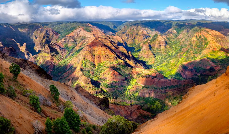 Panoramic landscape view of Waimea Canyon in Kauai, Maui