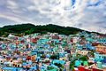 The colorful village on the hill