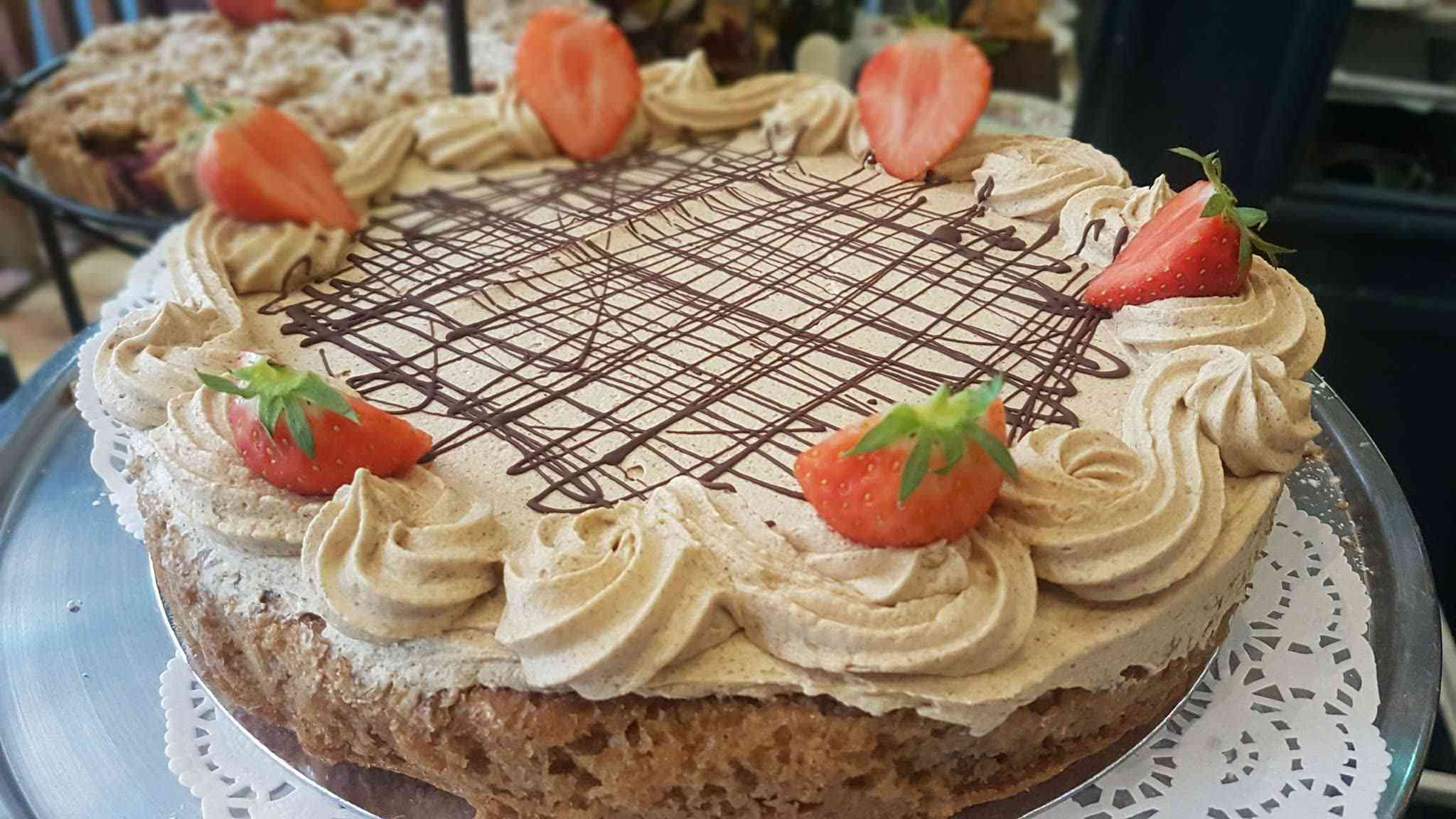 cake with strawberries and chocolate
