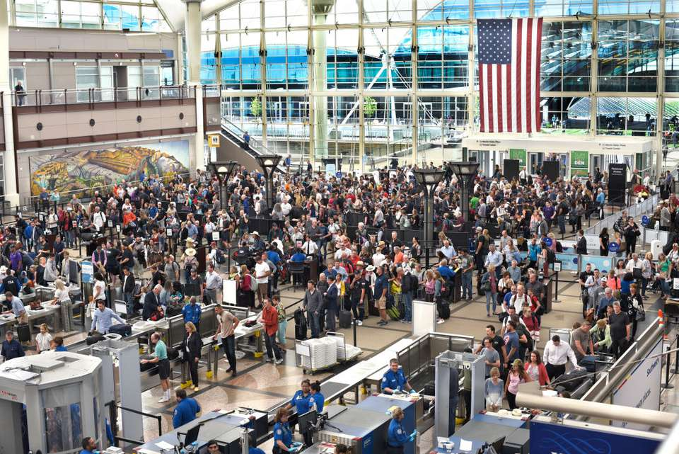 TSA security lines at Denver International Airport